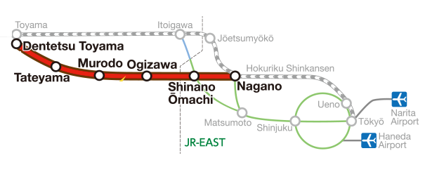 Route Map Tokyo to Alpine Route