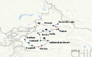 13 days Xinjiang Desert Trek Map
