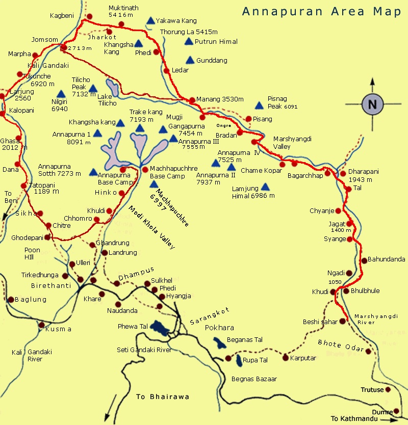 Annapurna Area Trail Map
