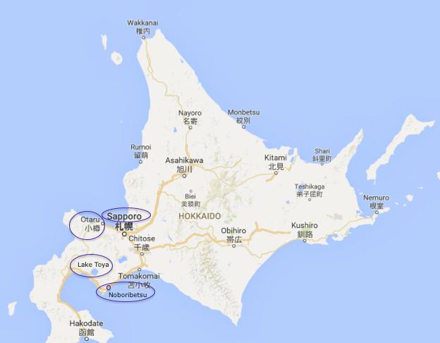 Hokkaido Map - Sapporo-Otaru-Lake Toya-Noboribetsu